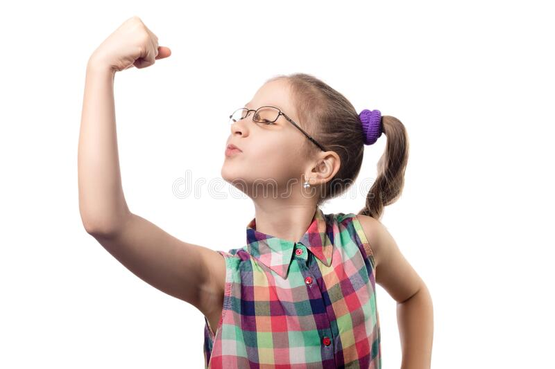 Little cute girl in glasses posing on a white background royalty free stock photo