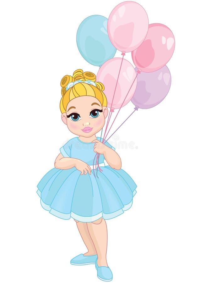 Little Cute Girl holding balloons vector illustration