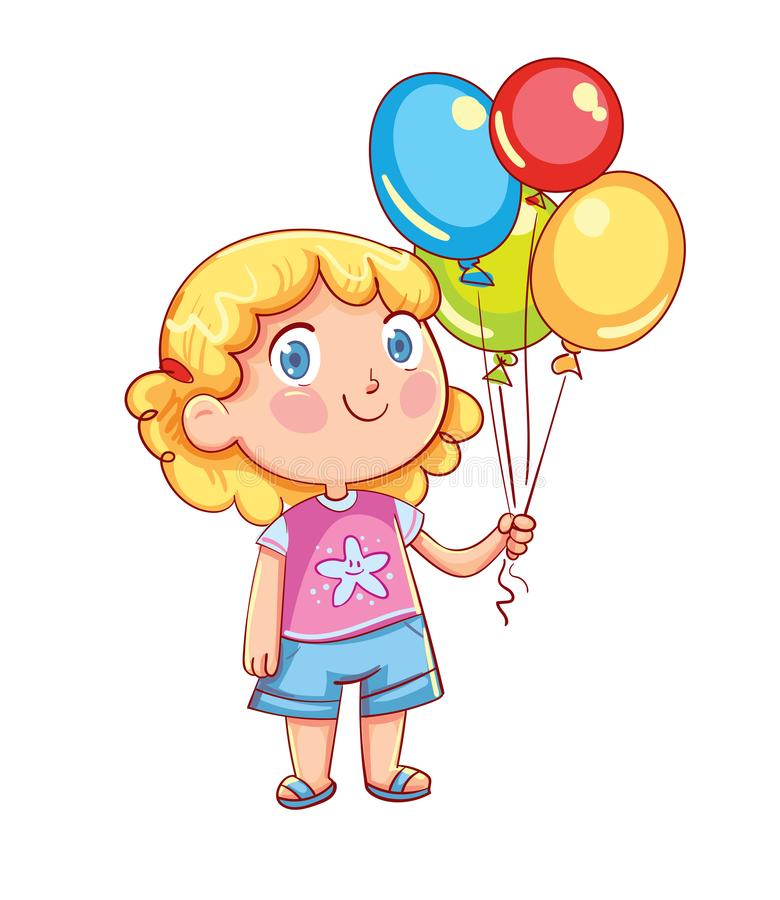 Little cute girl holding colorful balloons. In their hands. Funny cartoon character. Vector illustration. Isolated on white background stock illustration
