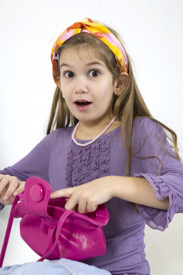 Download Little Cute Girl Open Her Bag Royalty Free Stock Photography - Image: 11697157