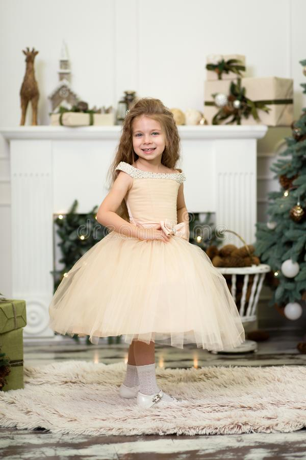 Little cute girl princess in a chic dress laughs and poses near the Christmas tree stock photo