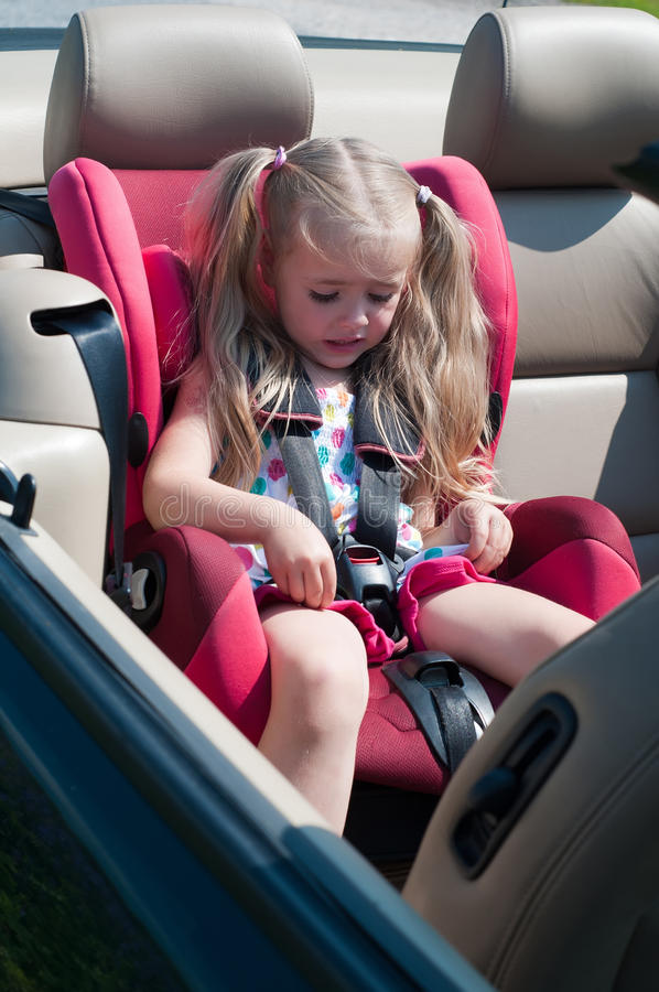 Little Cute Girl Sitting In Car Seat Stock Image - Image of girl ...