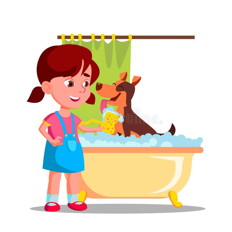 Little Cute Girl Washes A Dog In The Bathroom With Foam Vector Flat Cartoon Illustration royalty free illustration