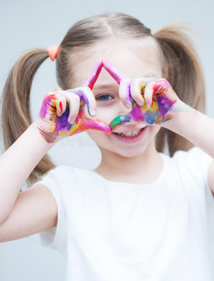 Free Little Cute Girl With A Painted Hands. Royalty Free Stock Photography - 112239677