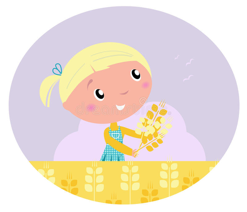 Jana Only Sweet Girls: Little Cute Girl With Yellow Harvested Grain. Stock Vector