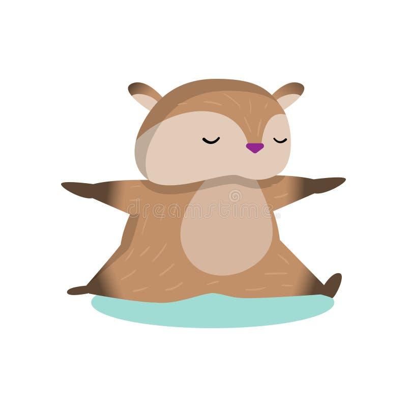 Little cute hamster doing leg-splits isolated on white background. Plump fluffy hamster doing leg-splits. Brown rodent stretching. Cartoon isolated on white vector illustration