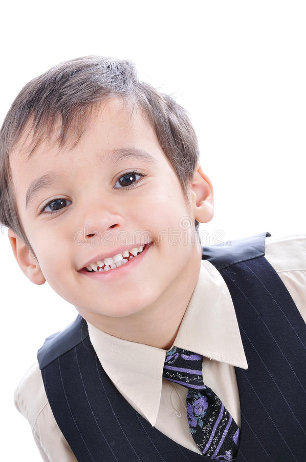 A little cute kid in business suit. Isolated royalty free stock images