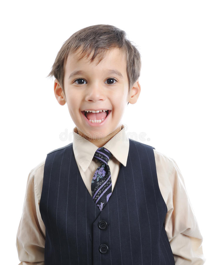 A little cute kid in business suit. Isolated stock image