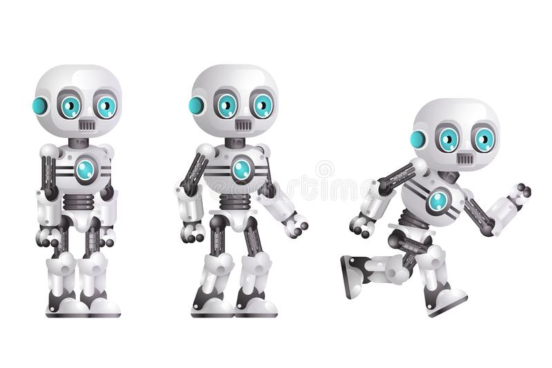Little cute modern android run stand robot character artificial intelligence isolated on white background 3d realistic vector illustration