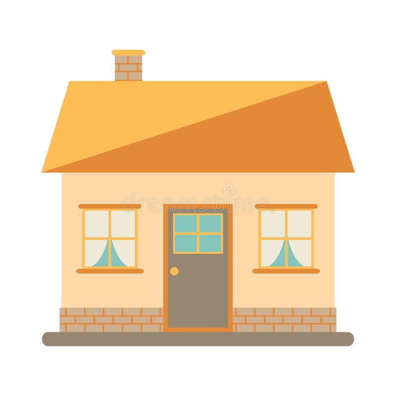 Little cute modern house for happy family. With chimney, roof, windows, door and brickwork. vector illustration