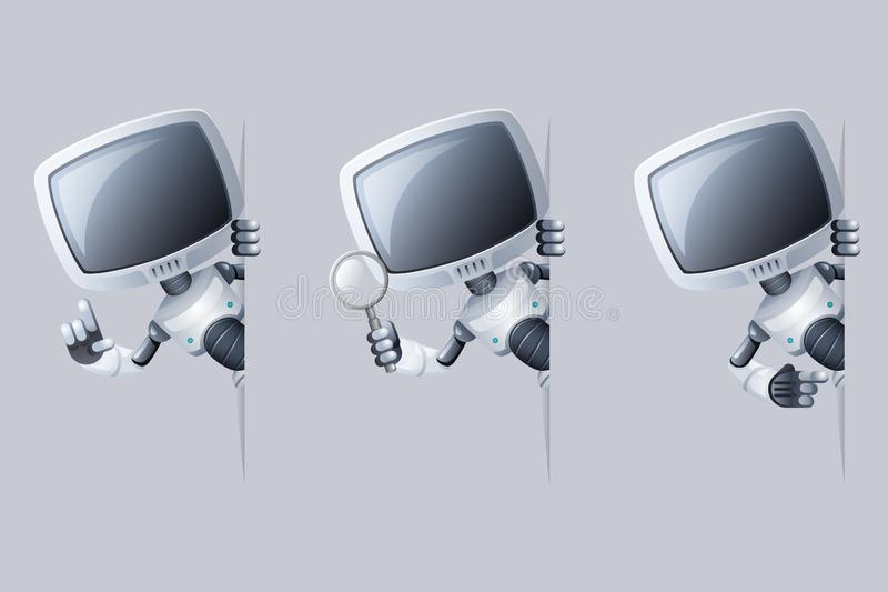 Little cute monitor head robot look out corner help technology science fiction future sale 3d design vector illustration vector illustration