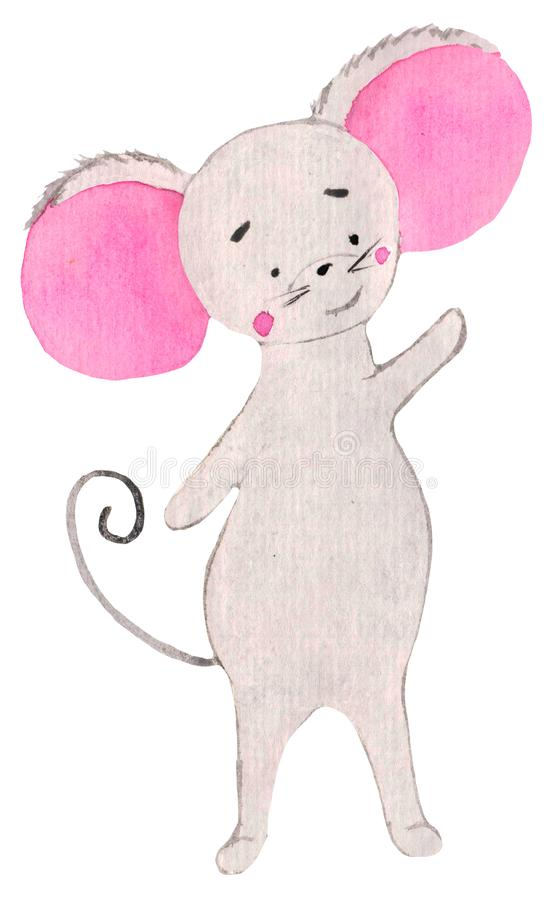 Little cute mouse with pink ears waving paw. funny character, watercolor for prints, design, postcards, posters. symbol. Of the year vector illustration
