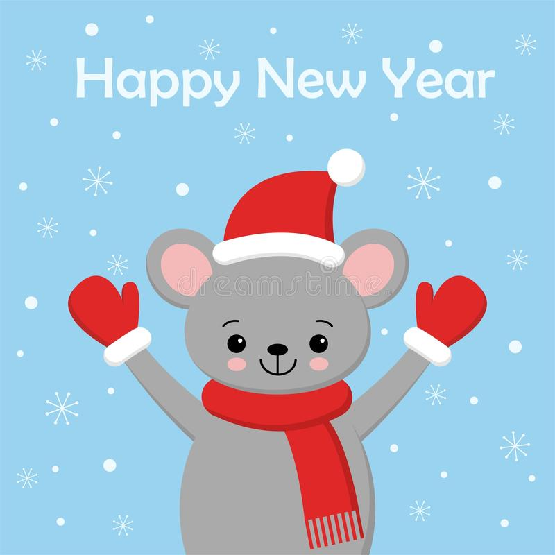 Little Cute Mouse in a red Santa s cap and scarf royalty free illustration