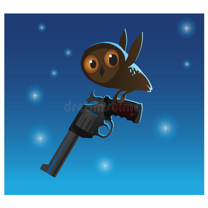 Free Little Cute Owl Stole The Big Gun, Blue Background Stock Photography - 73877442