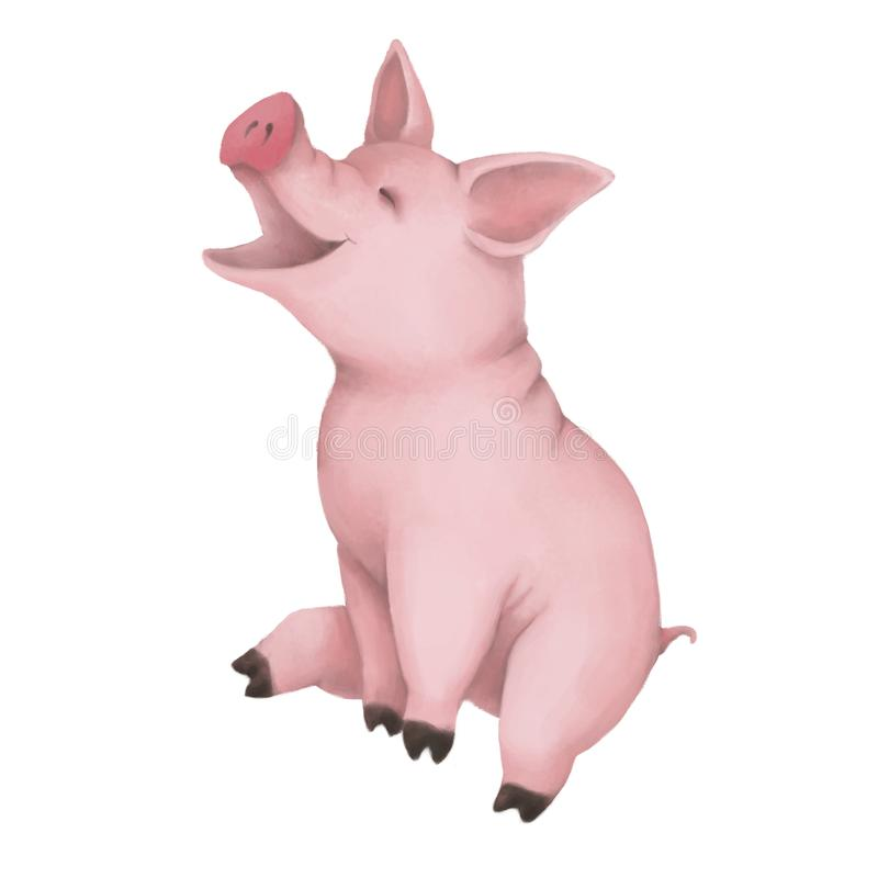 Little cute pink pig isolated on white background. Sits and laughs. farm animal. symbol of 2019. royalty free illustration