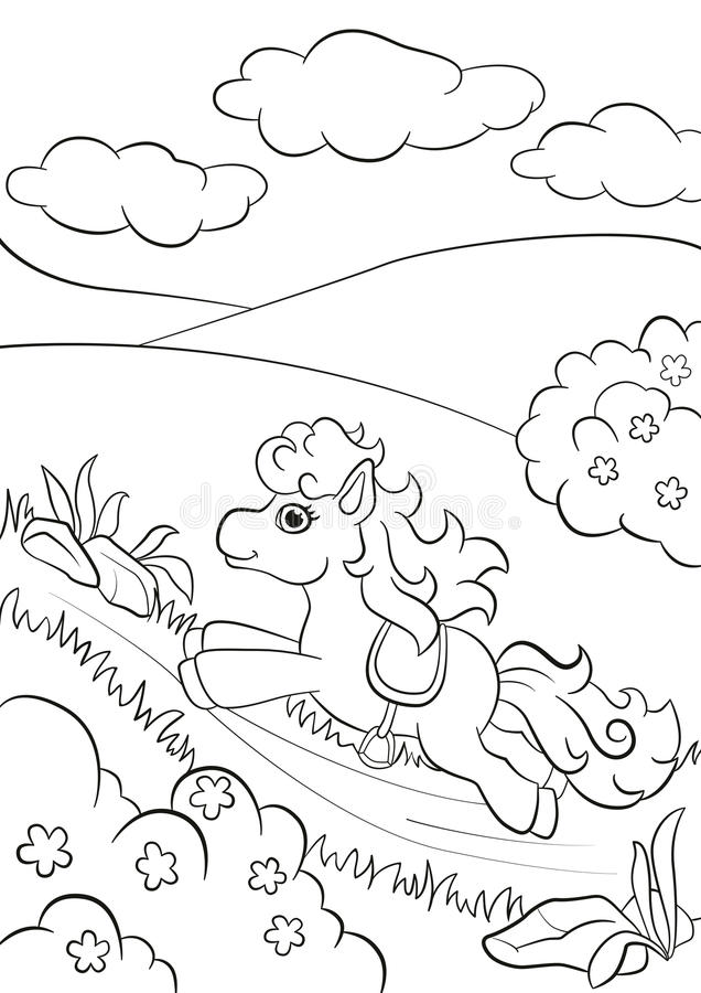 Little cute pony running along the road in the field. Coloring pages. Little cute pony running along the road in the field vector illustration