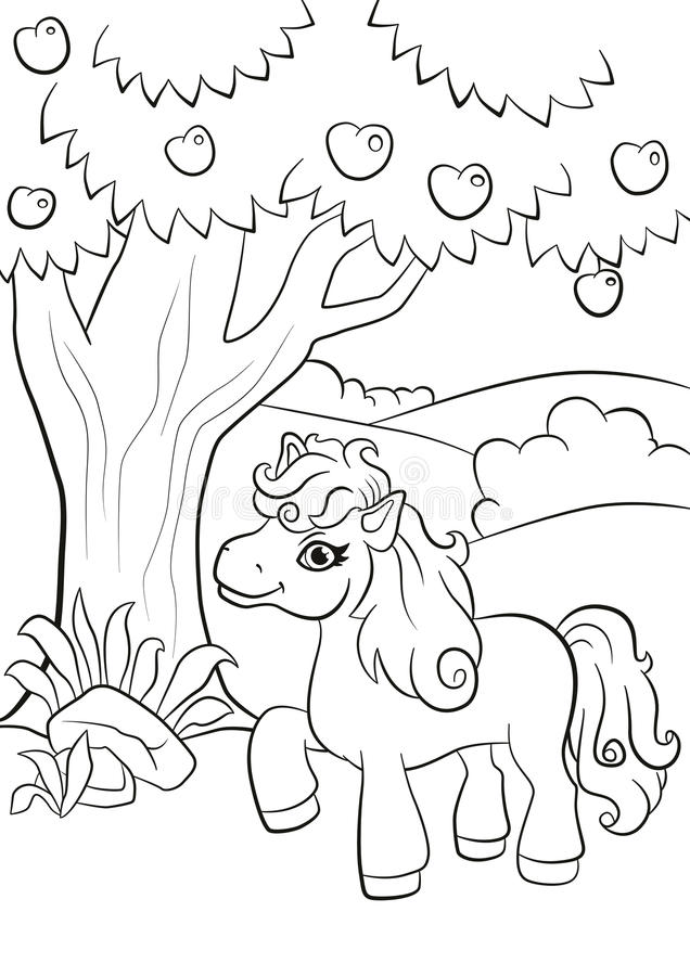 Little cute pony stands under the apple tree. Coloring pages. Little cute pony stands under the apple tree and smiling stock illustration