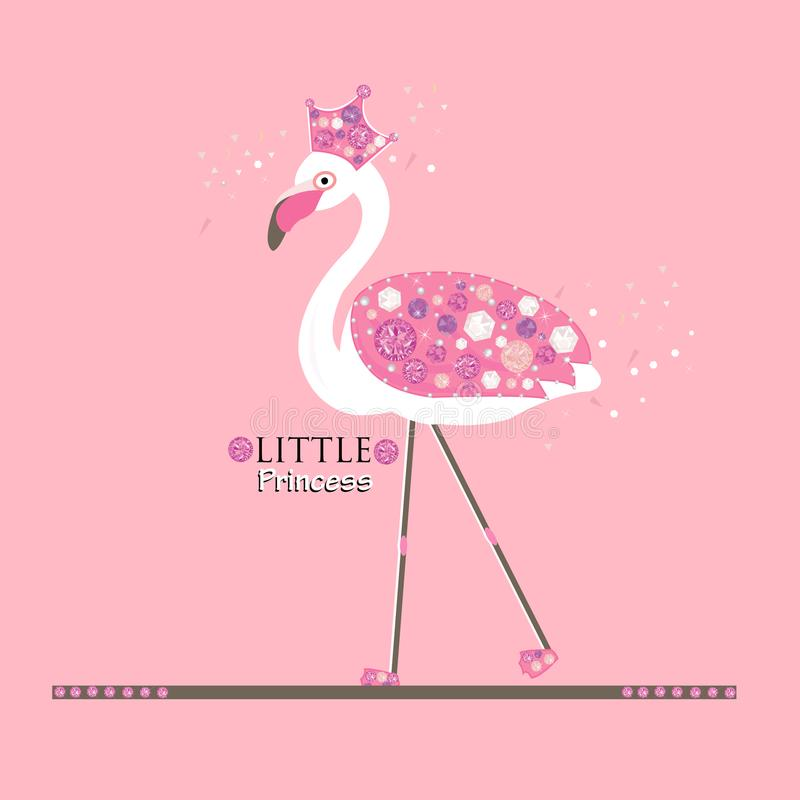 Little Cute Princess. Flamingo. Princess or queen flamingo. Fashion design. Background stock illustration
