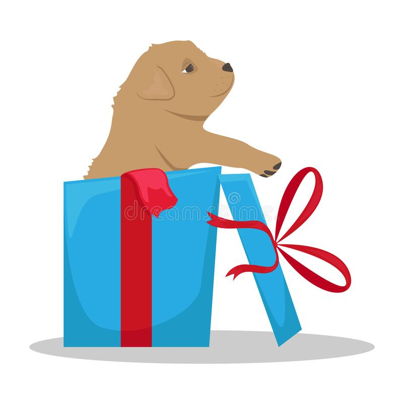 Little cute puppy in a gift box. Gift to children royalty free illustration