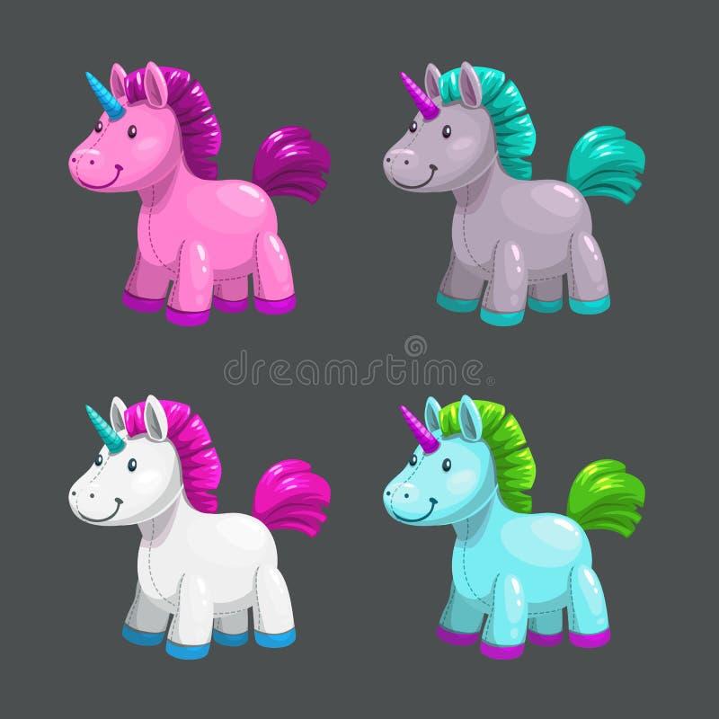 Little cute textile unicorn toy icons set. Vector fantasy pony. Little cute textile unicorn toy icons set. Vector fantasy pony illustration royalty free illustration