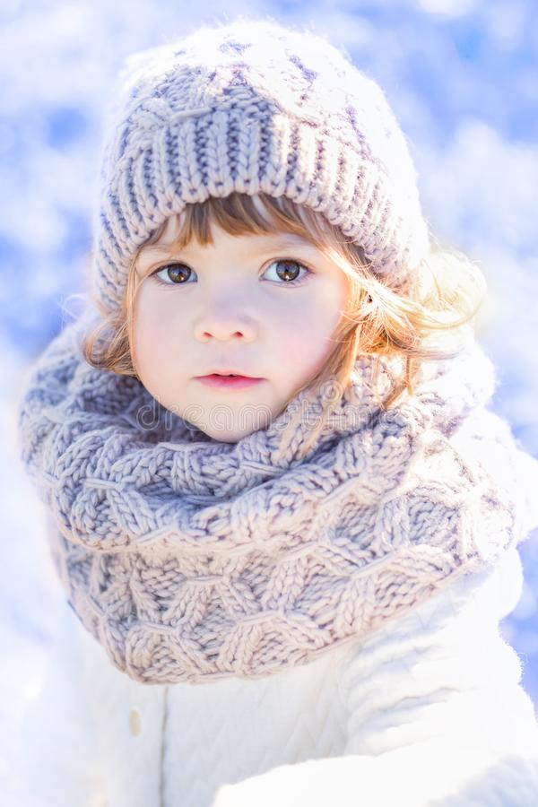 Free Little Cute Toddler Girl Outdoors On A Sunny Winter Day. Stock Images - 104055434