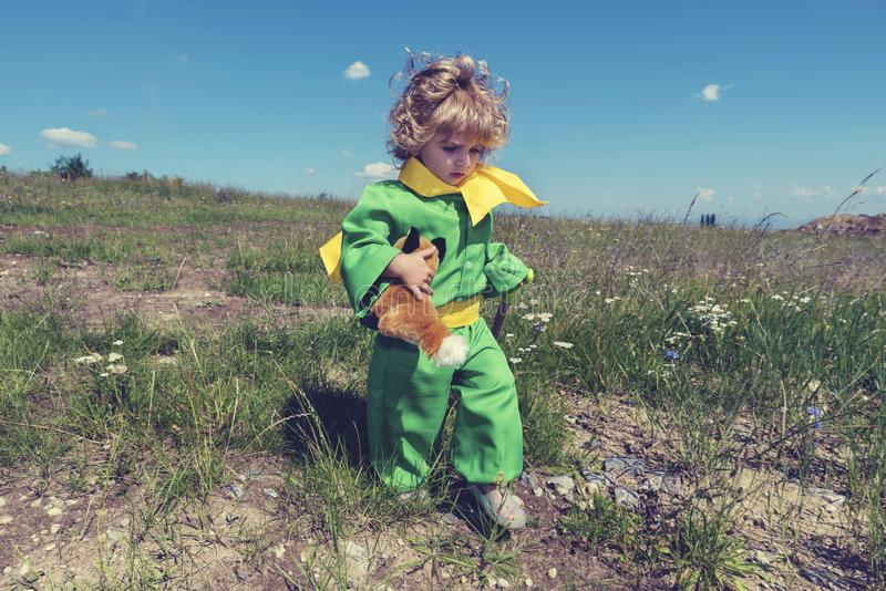 Little cute toddler walking in the middle of meadow with fox toy in green clothes with yellow scarf. Selective focus royalty free stock image