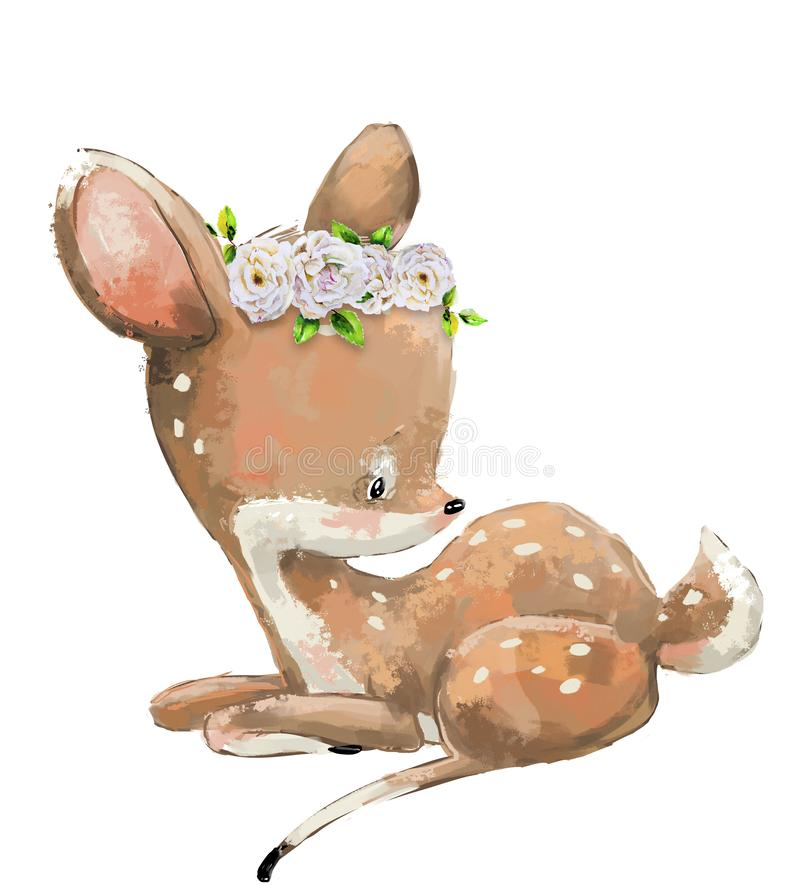 Little Cute watercolor lovely deer with flower vector illustration