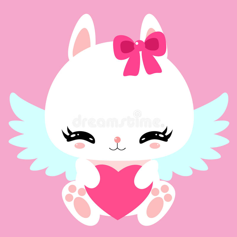 Little cute white bunny with angel wings and heart. Valentines Day. Greeting card. Children character. stock illustration