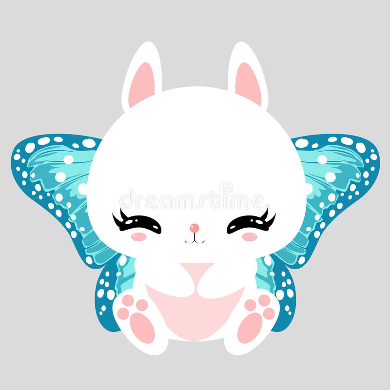 Little cute white bunny with blue butterfly wings. Romantic character. Greeting card. Beautiful sticker. stock illustration