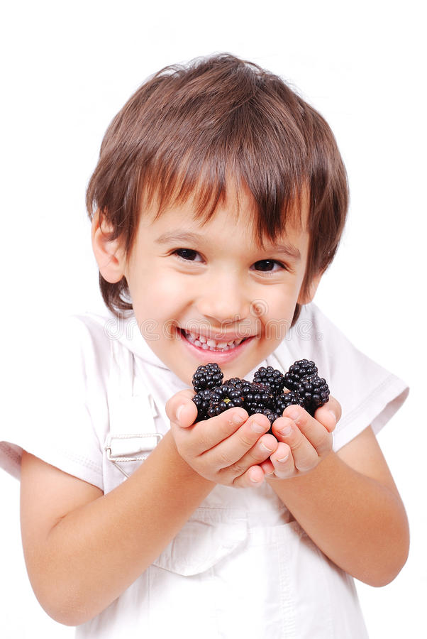 Free Little Cute White Kid With Blackberry Stock Photo - 10354350