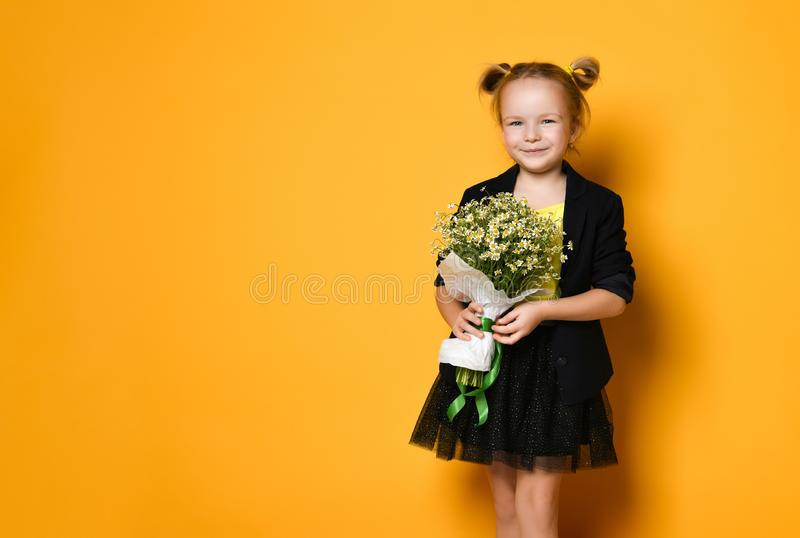 Little cute 5-year-old girl holds a large bouquet of daisies. Mother`s day concept royalty free stock images