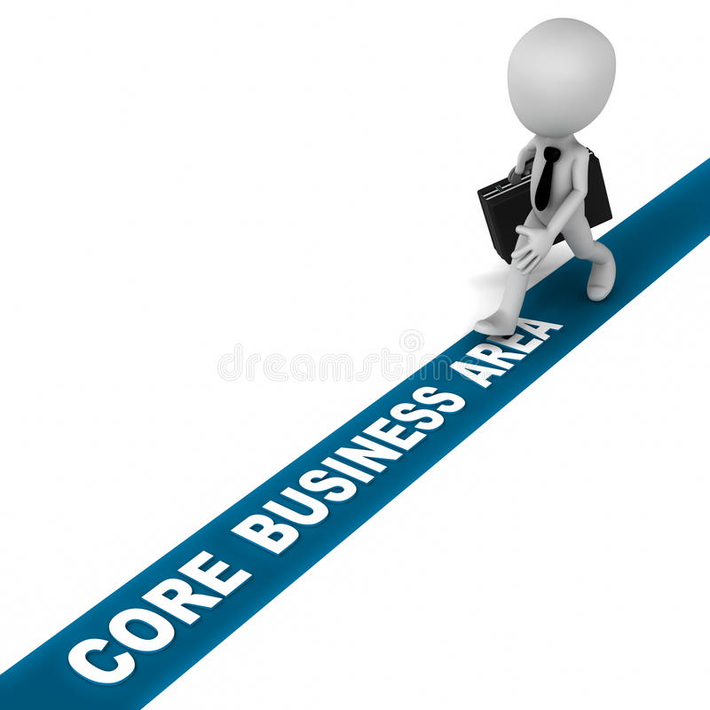 Core business area. Little 3d business man walking on the core business area line, showing commitment to just indulge in what the chart of company says, without royalty free illustration