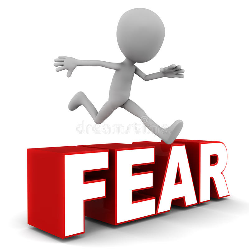 Overcome fear. Little 3d man jumping over fear word against white background, red text royalty free illustration