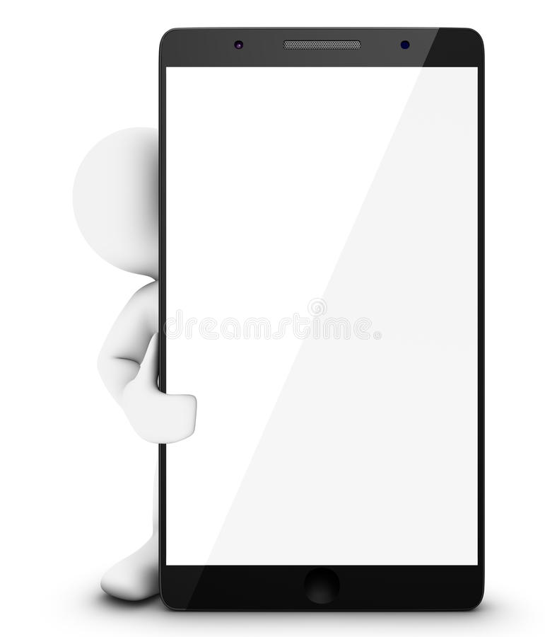 Little 3D Man with Smartphone stock illustration