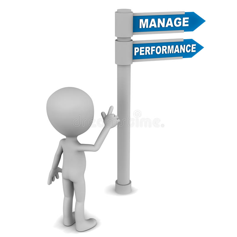 Manage performance. Little 3d man standing reading the signboard with text manage performance on white background stock illustration