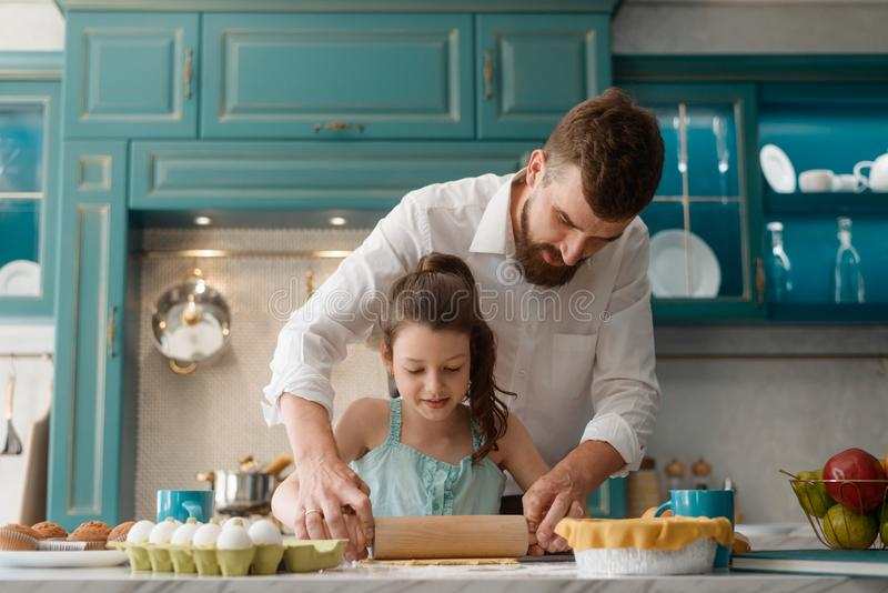 Little daughter and father stock image