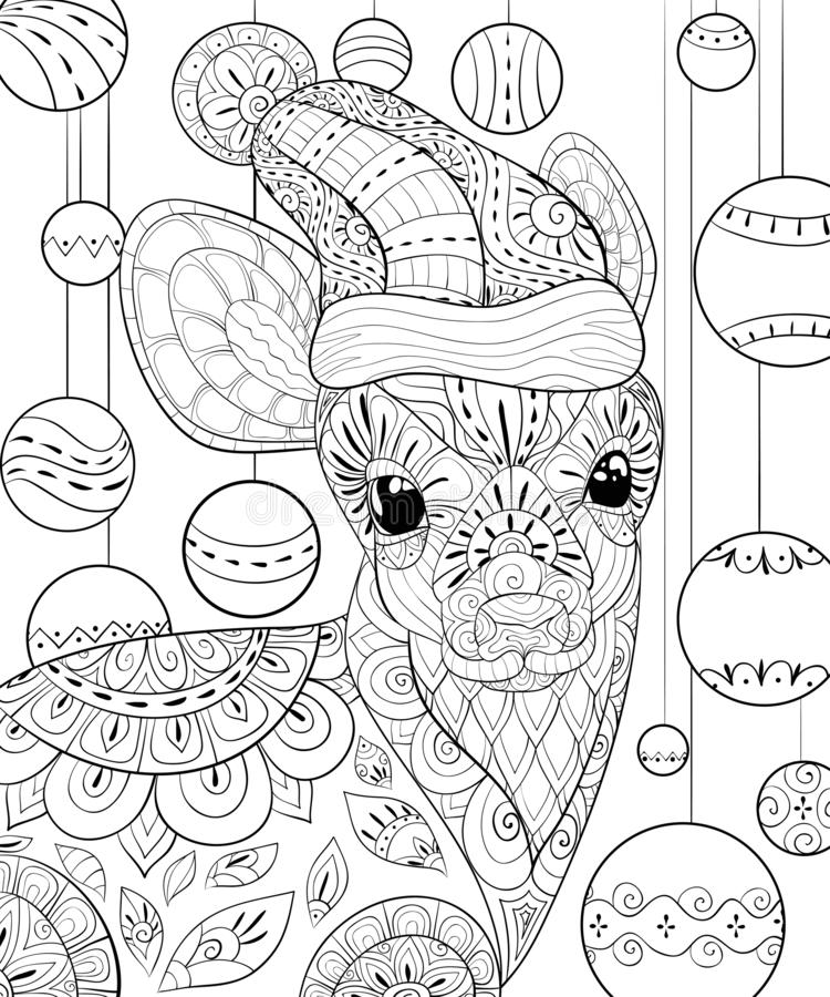 Adult coloring book,page a cute deer with Christmas cap,zen art style illustration. A little deer wearing a Christmas cap with ornaments on the background with stock illustration