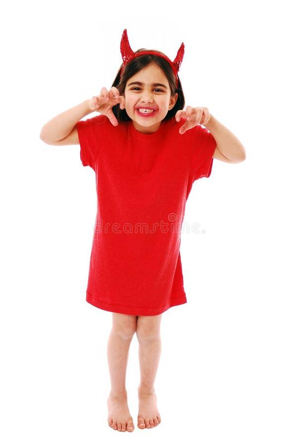 Little devil. Cute little devil isolated on white stock photos