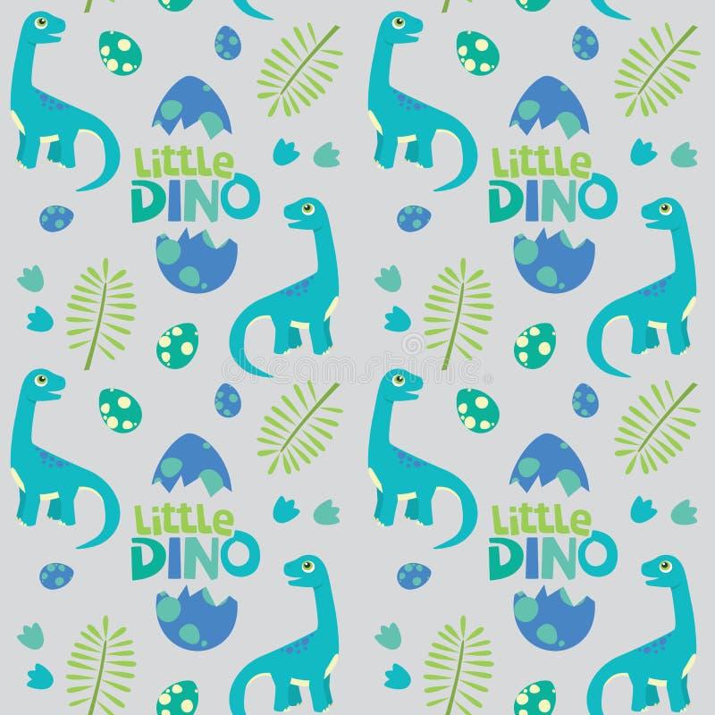 Little Dino Brontosaurus Seamless Pattern Gray Background Vector Illustration royalty free illustration