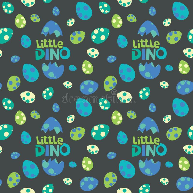 Little Dino Lettering with Colorful Spotted Dinosaur Eggs on Dark Background Seamless Pattern Vector Illustration royalty free illustration