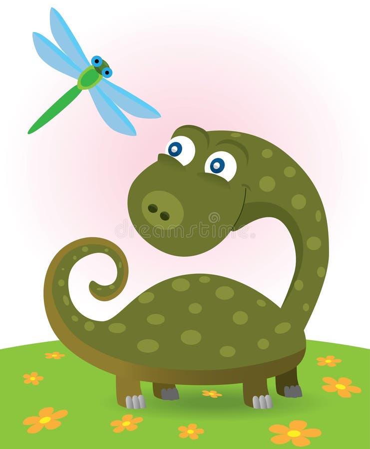 Little dinosaur and dragonfly vector illustration