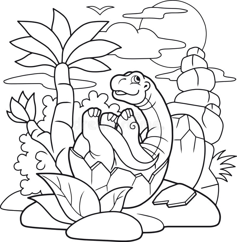 Little dinosaur hatched from egg stock illustration