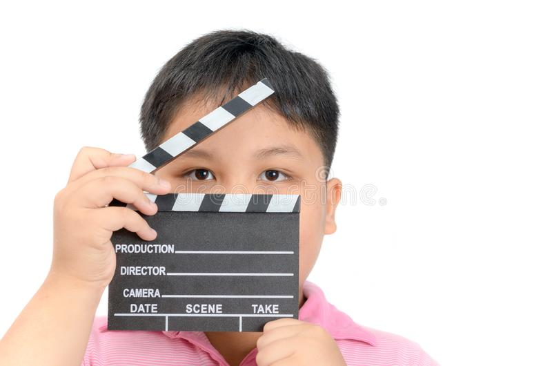 Little Director holding slate film for making video cinema stock photos