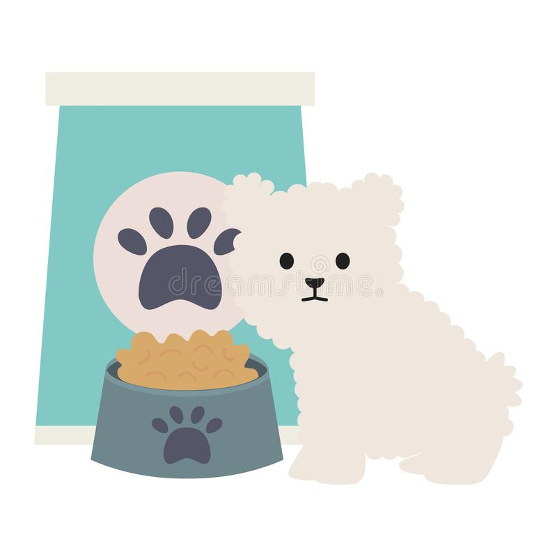 Little dog adorable with paperbag food and dish. Vector illustration design royalty free illustration