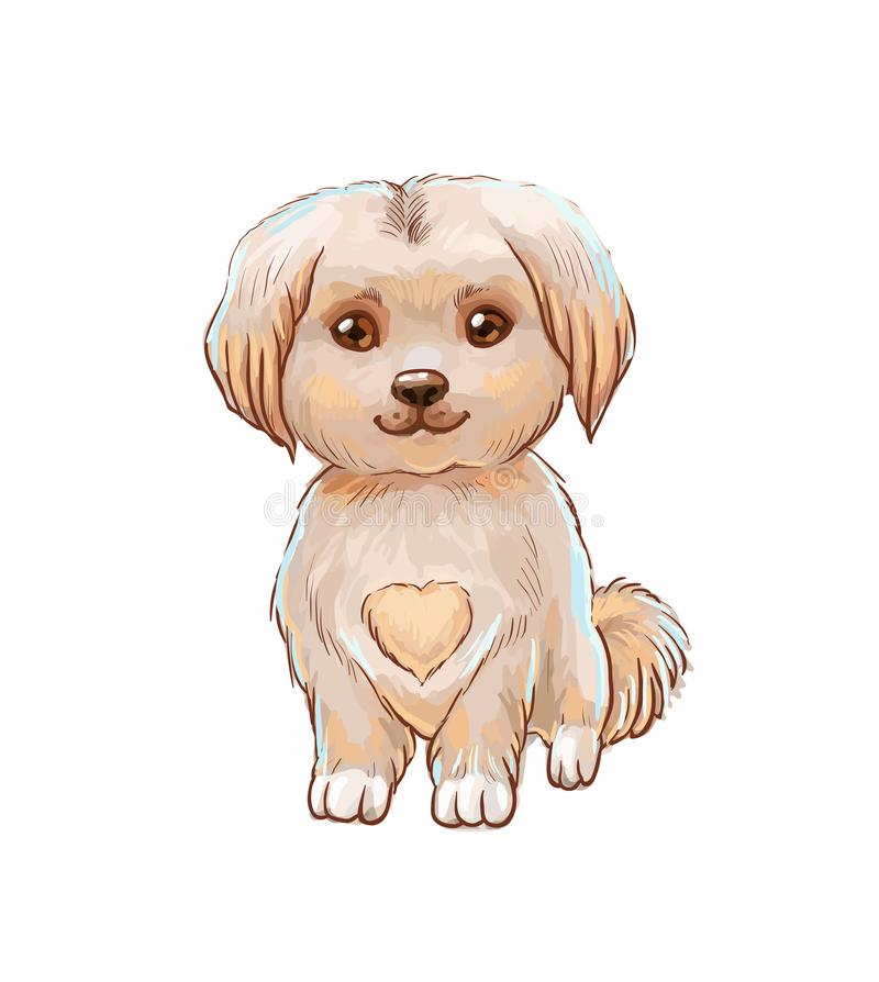 Cute puppy with heart on belly. Vector illustration isolated. Little dog. Vector illstration with cute puppy, funny character isolsted royalty free illustration