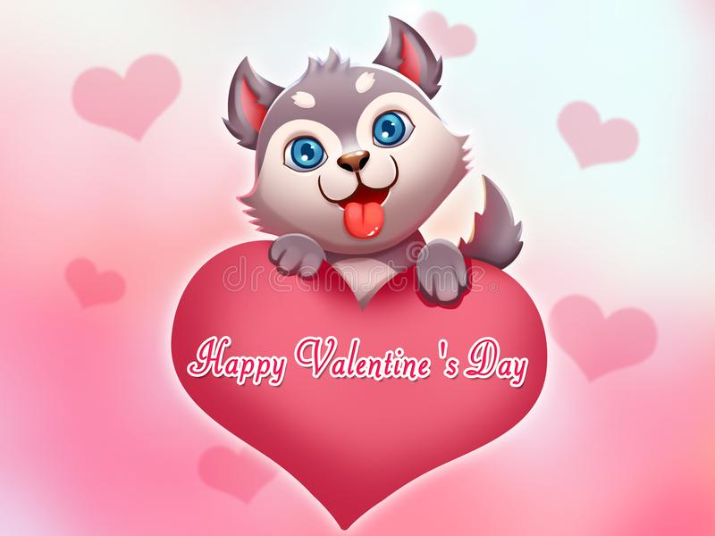 Little Dog Wish You Happy Valentine`s Day!. Happy Valentine`s Day! Cute Holiday Card. Video Game`s Digital CG Artwork, Colorful Concept Illustration, Realistic stock illustration