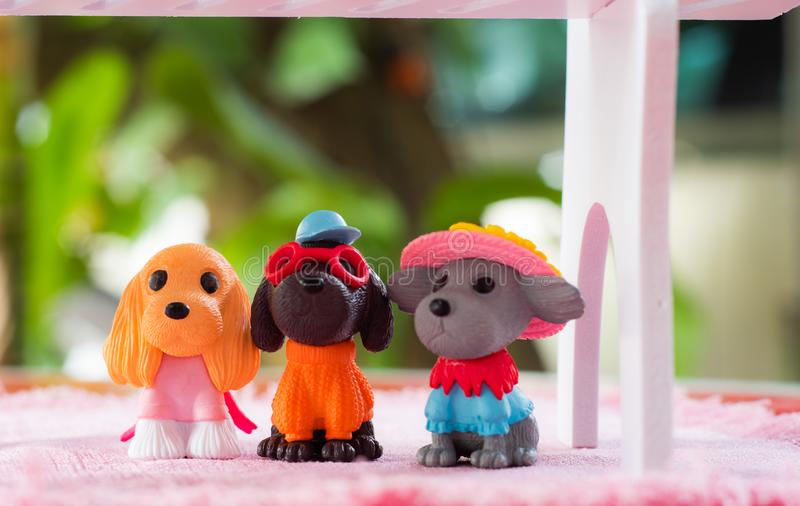 Little Dogs toys , cutes decorations in dogs cafe in Chiangmai province northern of Thailand. Dogs toys cutes decorations in dogs cafe in Chiangmai province stock photo