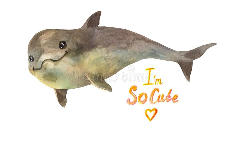 Little dolphin greets you! Cool watercolor illustration for printing on children`s t-shirts or school supplies stock images