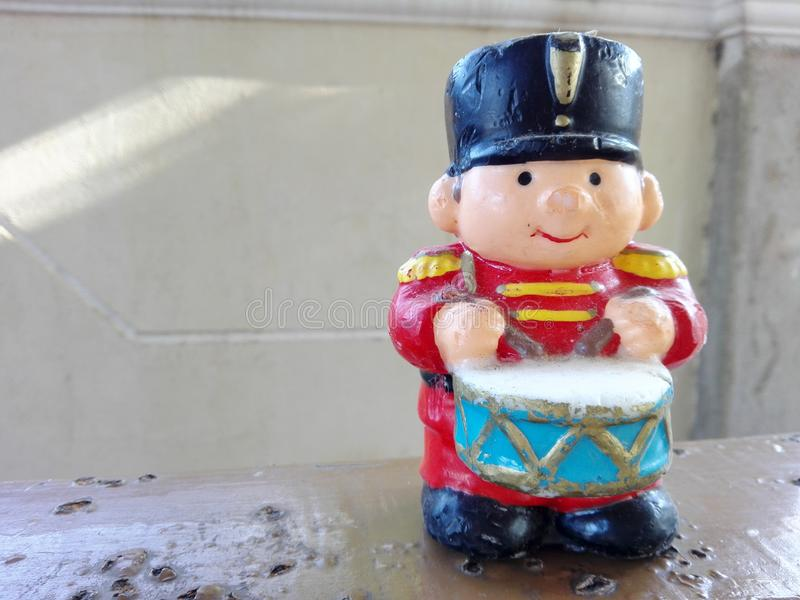 Little drummer boy. Candle usually displayed during Christmas Holiday season royalty free stock image