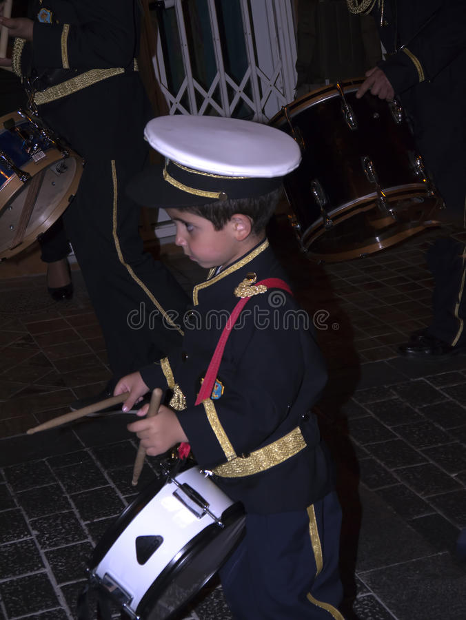 Little Drummer Boy in the Easter processions in Andalucia one of the most beautiful part of southern Spain royalty free stock photography